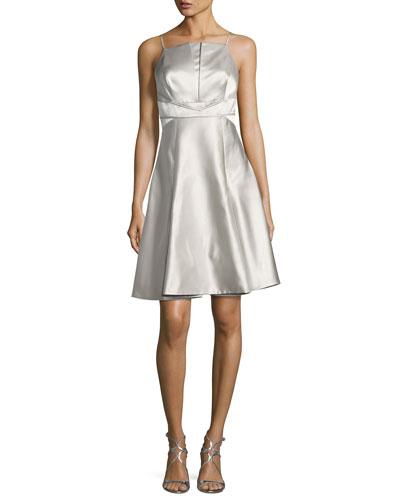 Sleeveless Silk Satin Cocktail Dress, Gray Pattern