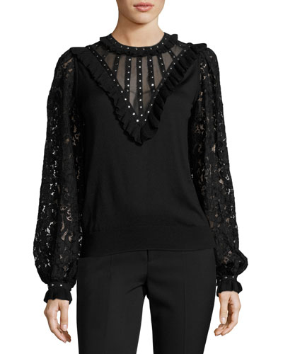 Studded Silk Lace-Sleeve Blouse, Black