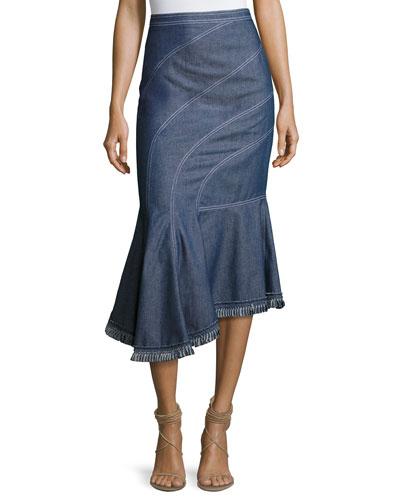 Asymmetric Denim Midi Skirt, Blue
