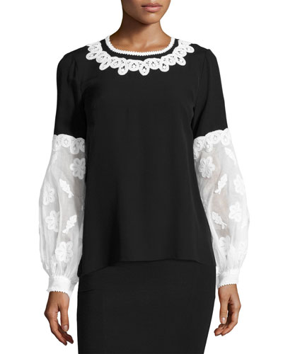 Embroidered Puff-Sleeve Silk Blouse, Black