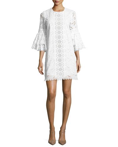 Ruffle-Sleeve Lace Shift Dress