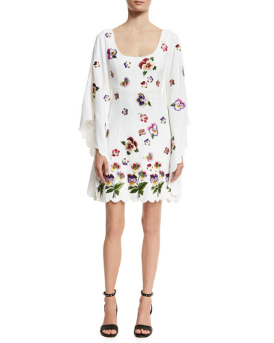 Flower-Embellished Long-Sleeve Dress, White
