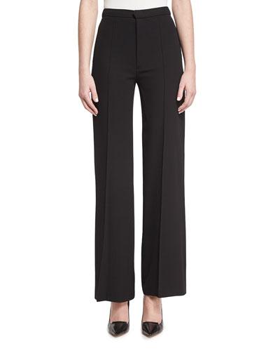 High-Waist Flowy Pants, Black