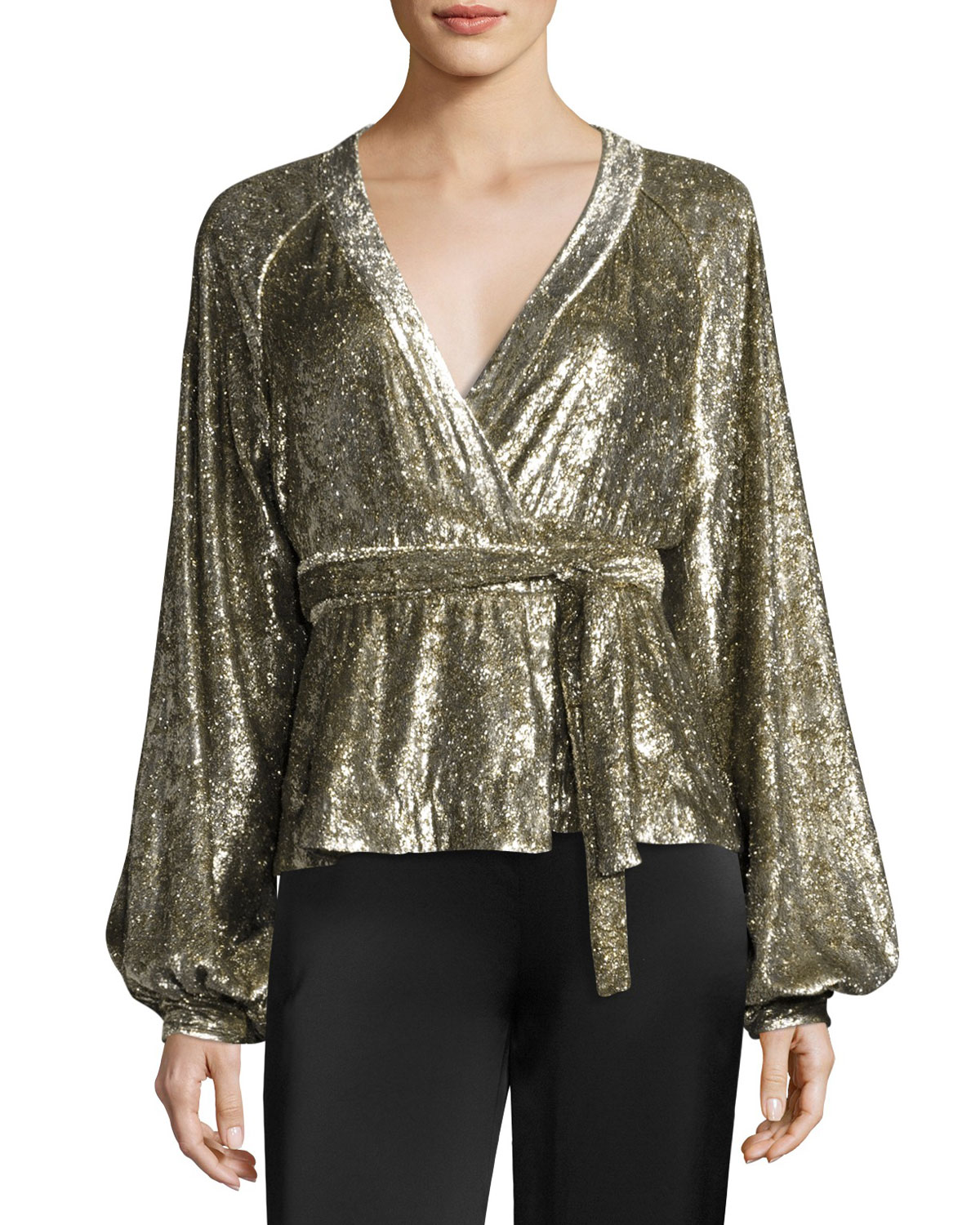 Metallic Velvet Wrap Blouse, Gold