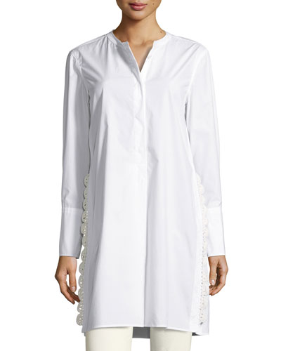 Crochet-Side Poplin Tunic Blouse, White