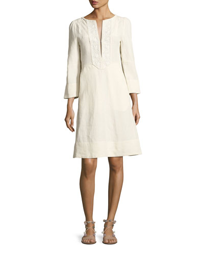 Embroidered Linen 3/4-Sleeve Dress, White