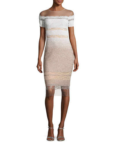 Short-Sleeve Signature Ombre Sequin Dress, White/Gold