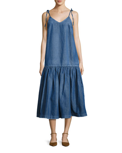 Tie-Shoulder Denim Midi Dress, Blue