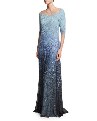 3/4-Sleeve Embellished Degrade Gown, Blue