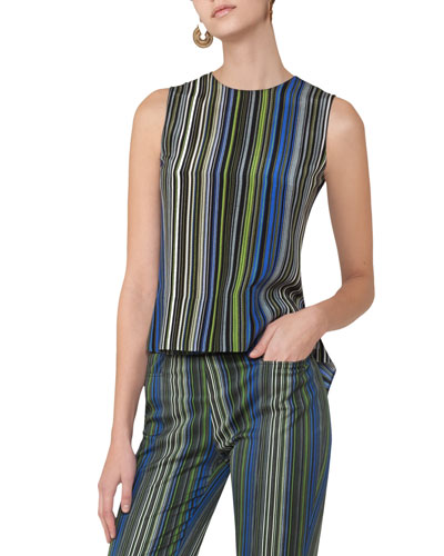 Paracas-Print Sleeveless Top, Multi