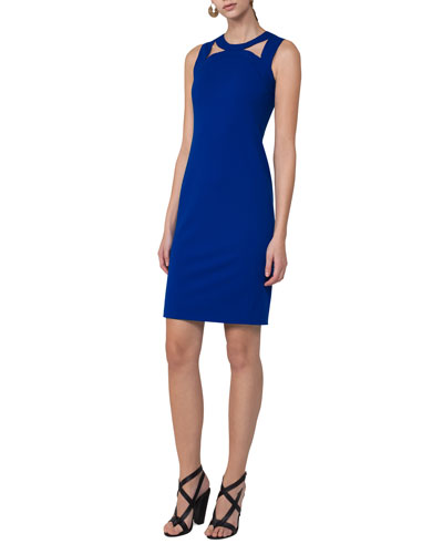 Sleeveless Cutout-Shoulder Sheath Dress