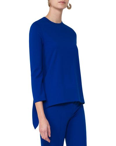 Bracelet-Sleeve Jersey Tunic, Blue