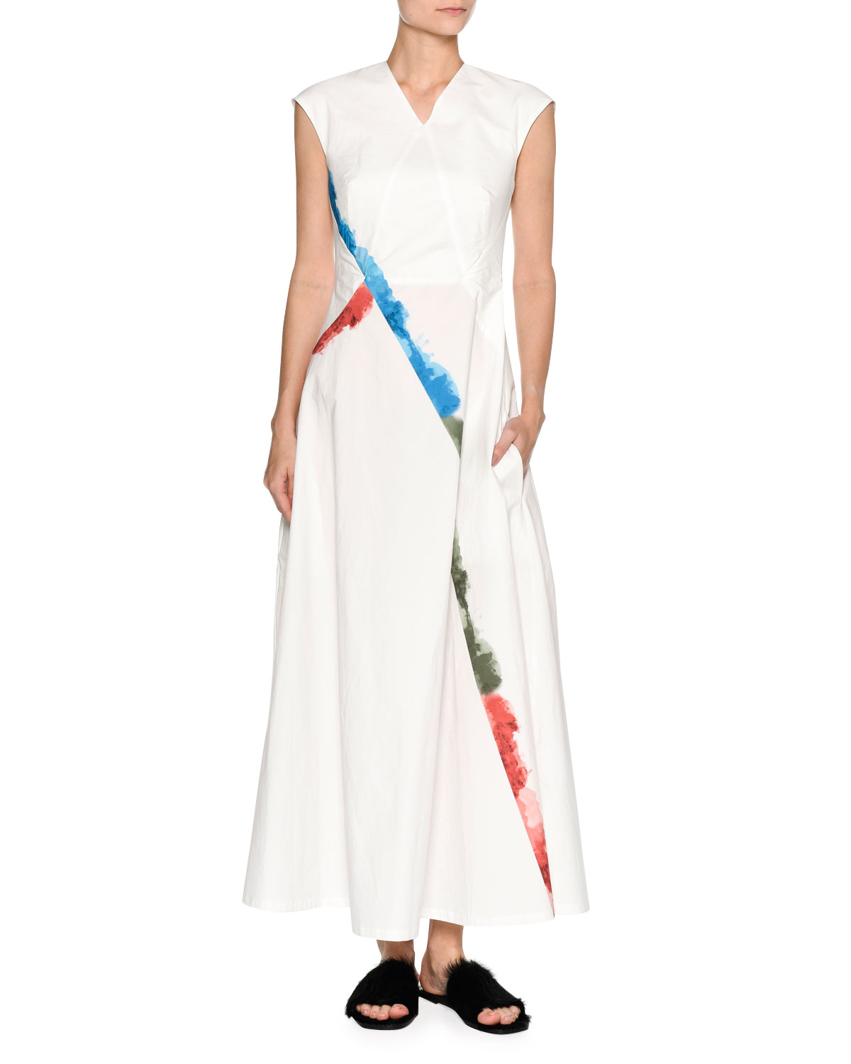 Tomas Maier RAINBOW-TRIM CAP-SLEEVE MAXI DRESS, WHITE