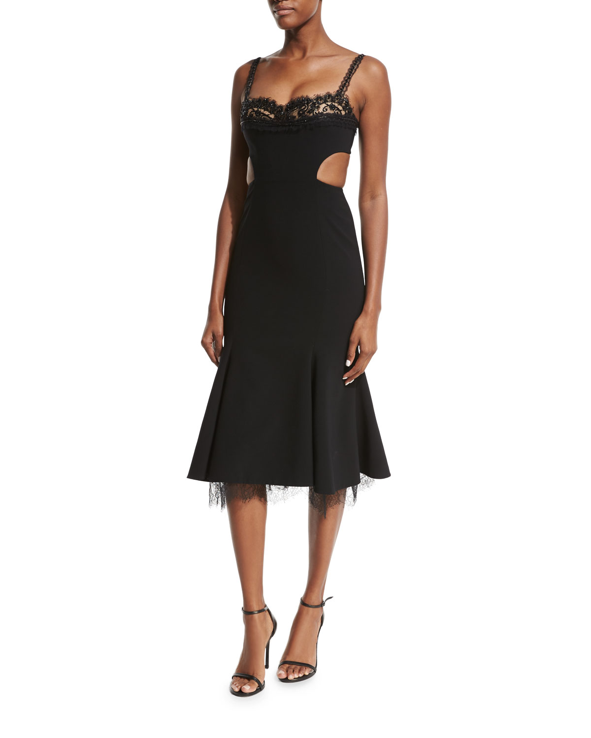 Cutout Bustier Crepe Cocktail Dress, Black