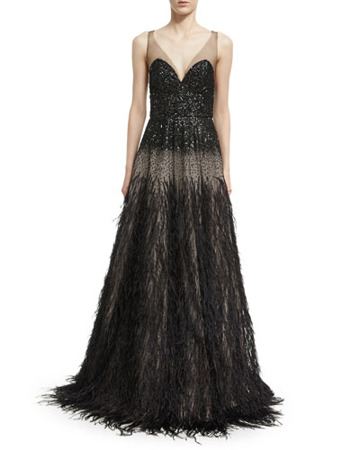 Sequined V-Neck Gown with Ostrich Skirt