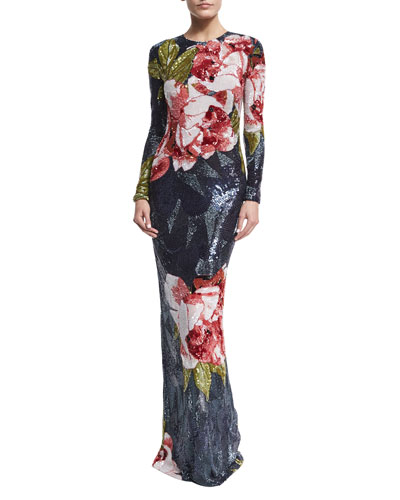 Fully Beaded Floral Silk Column Gown, Navy