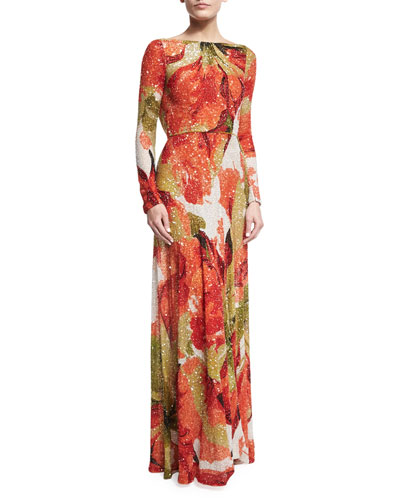 Beaded Floral Long-Sleeve Gown with Cowl Back, Orange