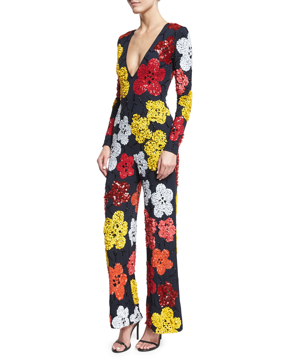 Beaded Floral Long-Sleeve Jumpsuit, Navy