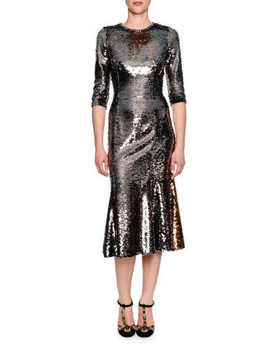 Sequined Half-Sleeve Midi Dress, Pewter/Gold