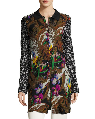 Floral Silk Shirt Coat, Black/Multi