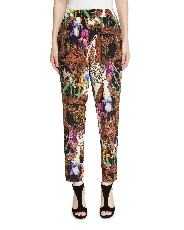 Jungle-Print Pull-On Pants, Black/Multi