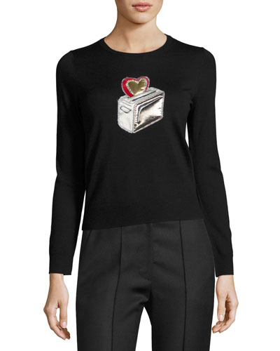 Heart Toaster Appliqué Crewneck Sweater, Black