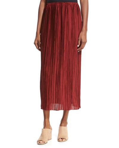 Juri Pleated Silk Midi Skirt, Dark Red