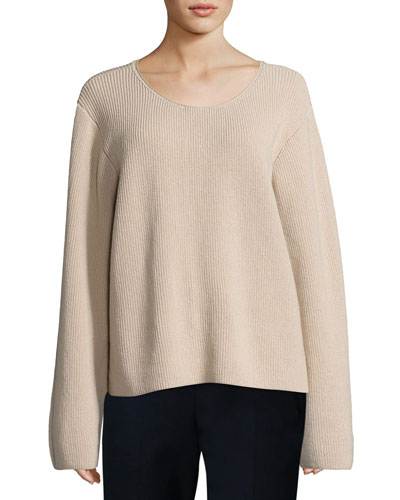 Grisa Ribbed Scoop-Neck Sweater, Flesh