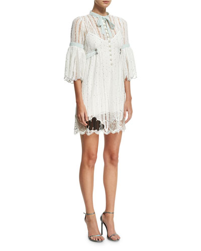 3/4-Sleeve Striped Lace Babydoll Cocktail Dress, White
