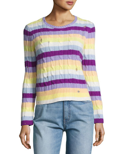 Striped Cashmere Cable Crewneck Sweater, Purple/Orange/Yellow