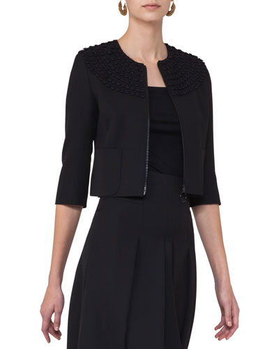 Dot-Embroidered Zip-Front Jacket, Black