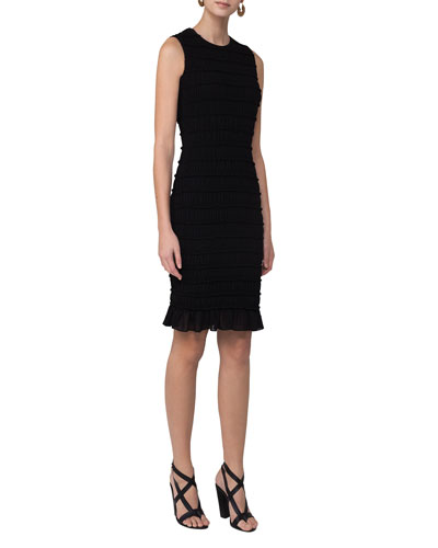 Smocked Flounce-Hem Sleeveless Dress, Black