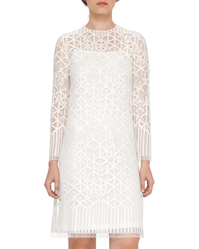 Geometric Lace Shift Dress