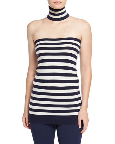 Striped Tube Top with Choker, Maritime/White