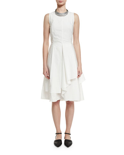 Sleeveless Tiered Poplin Dress