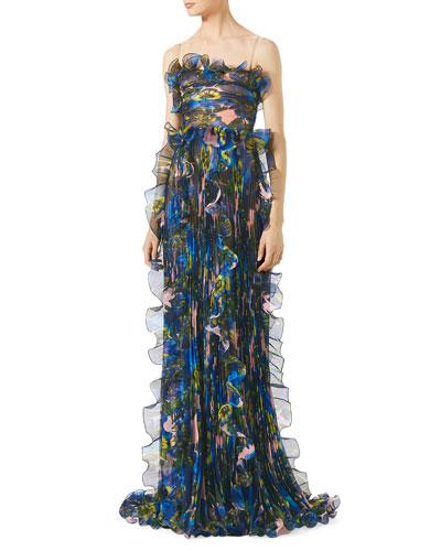 Plisse Silk Organza Gown, Multi