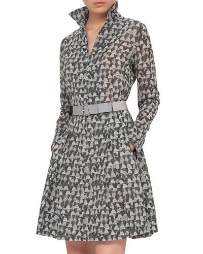 Ai-Print Long-Sleeve Belted A-Line Dress