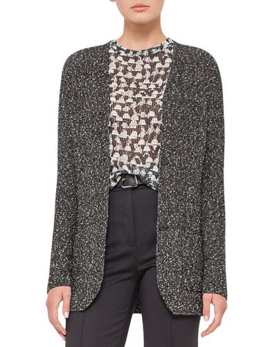 Cotton Tweed Long-Sleeve Cardigan