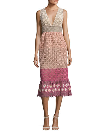 Sleeveless Colorblock Lace Midi Dress, Pink