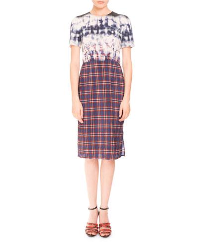 Short-Sleeve Bleached Plaid Dress