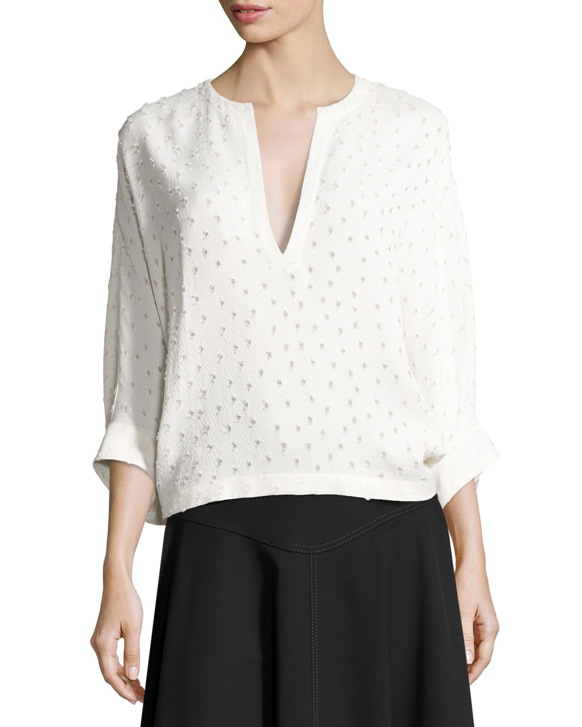 Swiss-Dot Batwing-Sleeve Blouse, White
