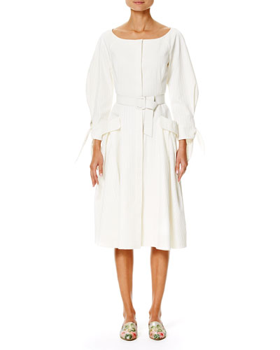 Tonal-Stripe Belted Boat-Neck Dress, White
