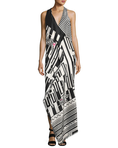 Geometric-Print Sleeveless Gown, Pink/Black/White