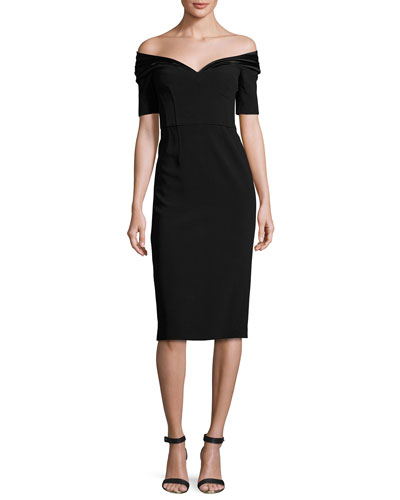 Delilah Off-Shoulder Sheath Dress, Black