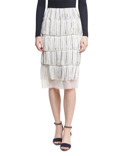 Moique Tiered Fringe Skirt, Neutral