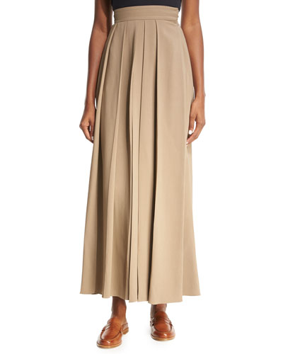 Skannt Belted Wide-Leg Pants, Medium Brown
