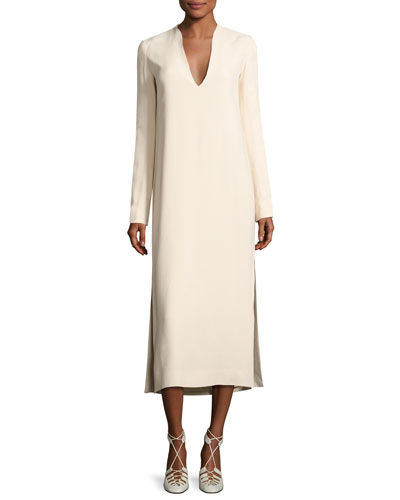 Alice Long-Sleeve V-Neck Midi Dress