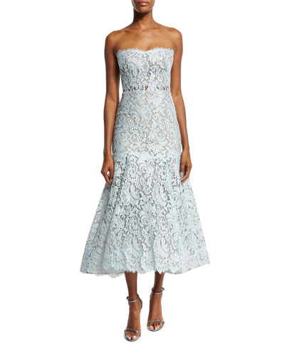 Strapless Chantilly Lace Tea-Length Dress, Sky