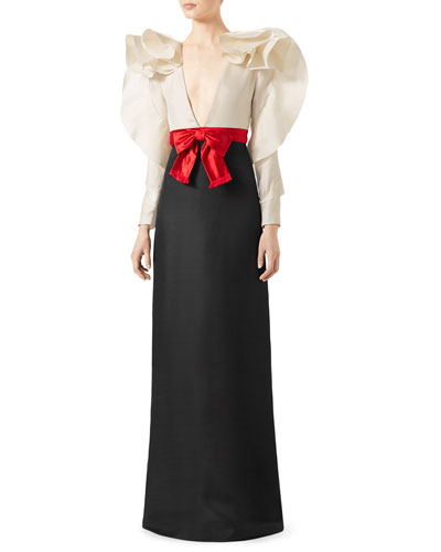 Long-Sleeve Gown with Contrast Bow, Black
