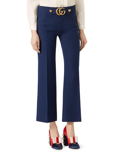 Cropped Wool/Silk Pants, Blue